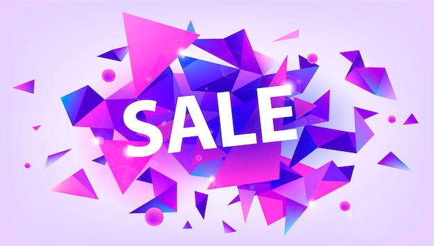 Vector shiny sale banner, promotion poster, discount. facet 3d triangles illustration. purple and pink trendy colors