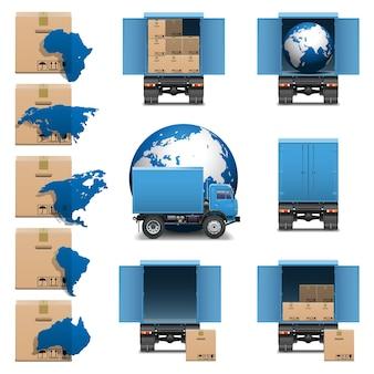 벡터 배송 트럭 아이콘 세트 3