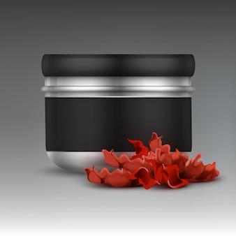 Barattolo di tabacco shisha vettoriale per vista frontale del marchio isolato su sfondo grigio