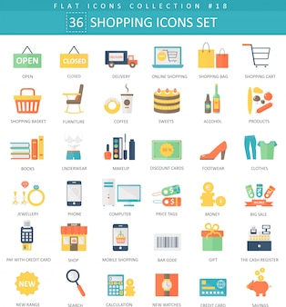 Vector shopping color flat icon set. elegant style design.