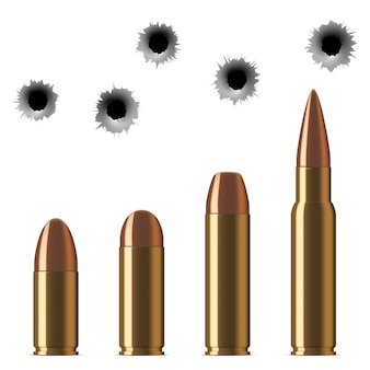 Vector shot gun bullets and bullet holes isolated on white