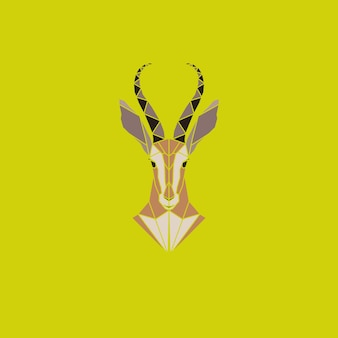 Vector sign abstract head of african antelope