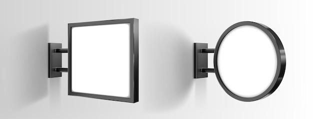 Vector sign board mockup isolated on gray background. illuminated lightbox on wall. led luminous advertising board