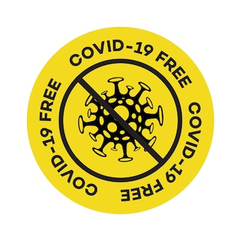 Векторный знак, свободная от covid, штамп, вспышка коронавируса, новый коронавирус, пандемическая концепция вируса ncov