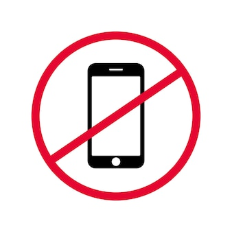 Vector sign prohibiting the use of mobile device in specific place.