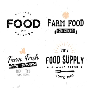 Vector signs in vintage style on food theme