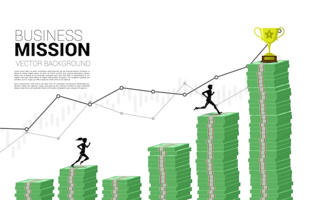 Vector silhouette of businessman and businesswoman run on column of money graph to trophy. concept of risk , success and growth in business