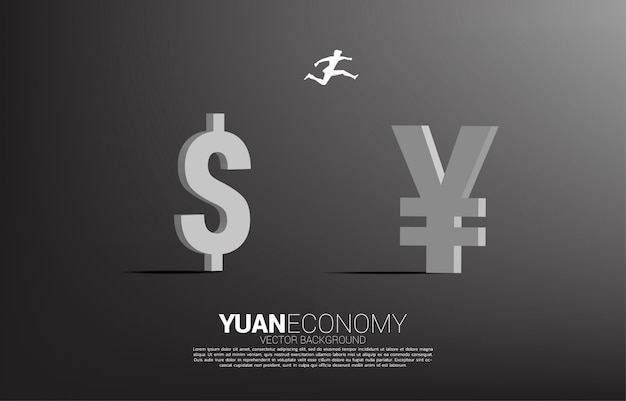 Vector silhouette of businessman jump from dollar money to china yuan currency icon. concept for chinese economy and era of chinese.