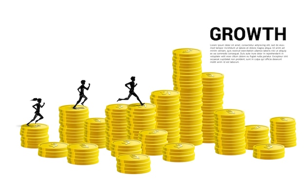 Vector silhouette of businessman run on column of money graph. concept of risk , success and growth in business