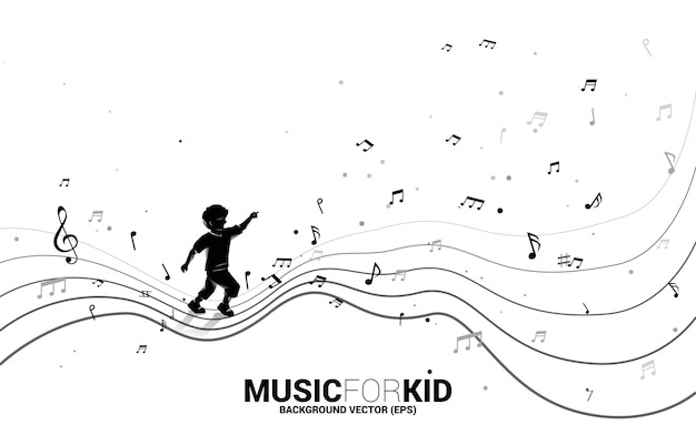 Vector silhouette of child running with dancing flow shape music note .  music for kid and children.
