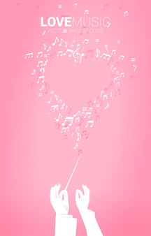Vector silhouette of conductor hand hold baton stick with music melody note dancing flow . concept background for love song and concert theme.