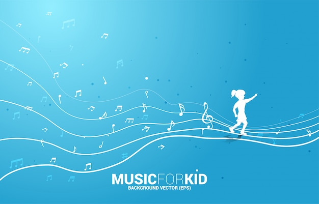 Vector silhouette of girl running with dancing flow shape music note . concept background music for kid and children.