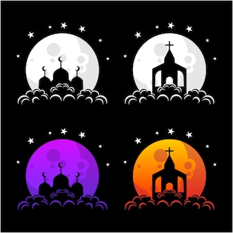 Vector silhouette house of worship collection