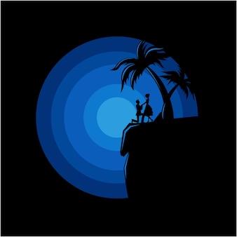 崖の上のカップルのベクトルシルエットロゴイラスト