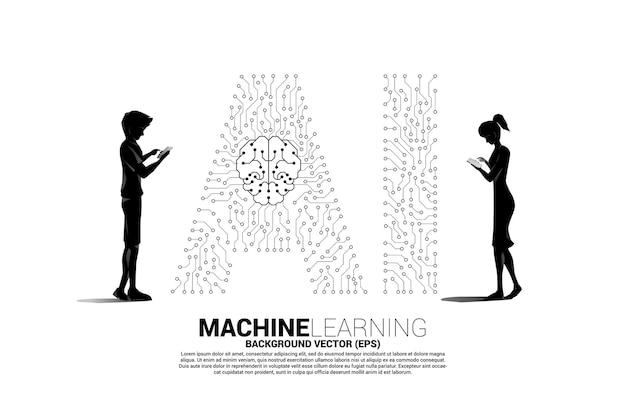 벡터 실루엣 남자와 여자는 휴대폰을 사용하고 배경 점은 선 모양의 ai와 cpu 센터를 연결합니다. 기계 학습 및 인공 지능에 대한 개념입니다.