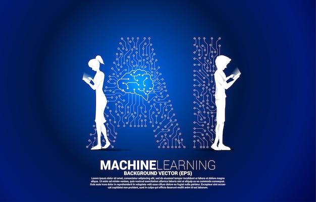 ベクトルシルエットの男性と女性は携帯電話を使用し、背景のドットは線状のaiとcpuセンターを接続します。機械学習と人工知能の概念。 Premiumベクター