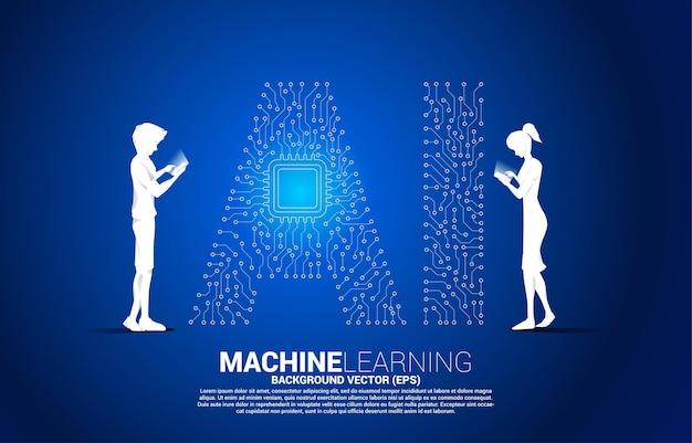 벡터 실루엣 남자와 여자는 선 모양의 ai와 cpu 센터를 연결하는 휴대폰 점을 사용합니다. 기계 학습 및 인공 지능에 대한 개념입니다.