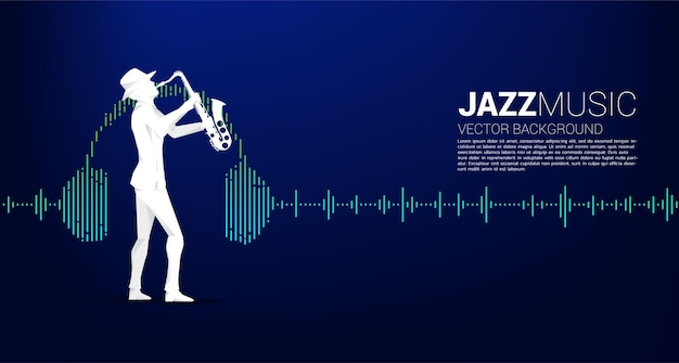 Vector silhouette of man and saxophone standing with headphone music equalizer background. concept background for classic music concert and recreation.