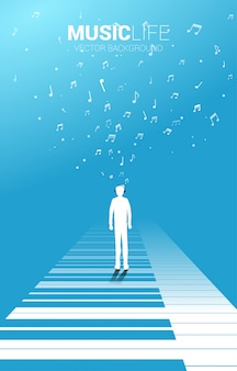 Vector silhouette of man standing with piano key with flying music note . concept background piano music and recreation.