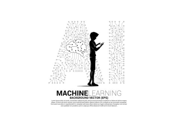 ベクトルシルエットの男性は携帯電話を使用し、背景のドットは線状のaiとcpuセンターを接続します。機械学習と人工知能の概念。
