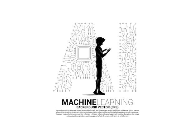 벡터 실루엣 남자는 휴대폰 다각형 점을 사용하여 선 모양의 ai와 cpu 센터를 연결합니다. 기계 학습 및 인공 지능에 대한 개념입니다.