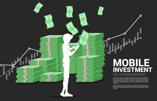 携帯電話と紙幣のスタックを持つベクトルシルエット男。成功の概念モバイル投資とお金の投資。 Premiumベクター