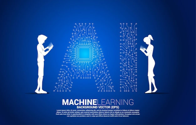Vector silhouette man and woman use mobile phone dot connect line shaped ai and cpu center. concept for machine learning and artificial intelligence.