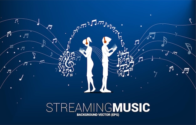 Vector silhouette man and woman with mobile phone and headphone from music melody note dancing flow . concept background for song and concert theme.