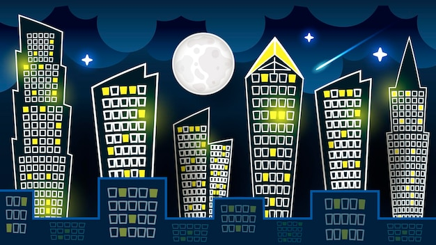 Vector of silhouette of night city landscape on dark blue sky background with big moon. art design for web, site, advertising, banner, poster, flyer, brochure, board, card, paper print.