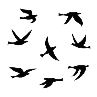 새 떼의 벡터 실루엣입니다. 비행 새의 검은 고립 된 평면 윤곽의 집합입니다. 로고, 인쇄, 카드, 전단지, 직물, 포스터 디자인 요소입니다.