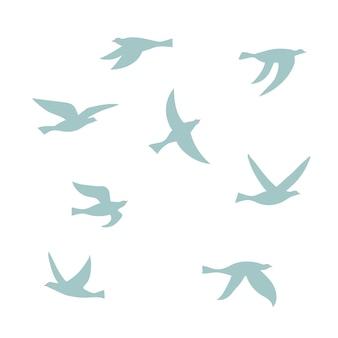 새 떼의 벡터 실루엣입니다. 비행 새의 고립 된 평면 윤곽의 집합입니다. 로고, 인쇄, 카드, 전단지, 직물, 포스터 디자인 요소입니다.