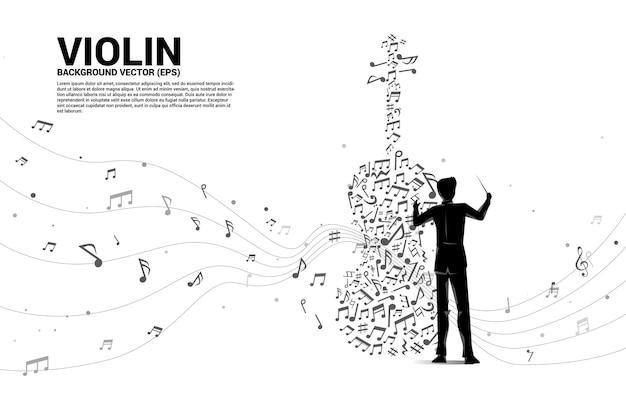 음악 멜로디 노트 춤 흐름 모양 바이올린 아이콘 지휘자 손의 벡터 실루엣. 노래와 콘서트 테마에 대한 개념 배경입니다.