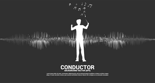音波音楽イコライザーの背景を持つ指揮者のベクトルシルエット。