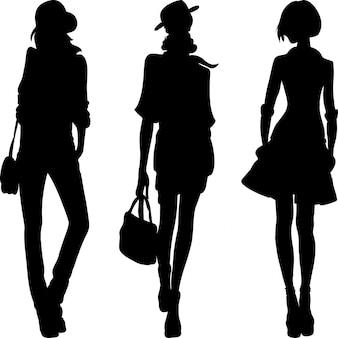 Векторный силуэт модных девушек топ-моделей