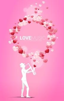 Векторный силуэт саксофониста, стоящего с полетом на воздушном шаре сердца. предпосылка концепции для темы песни и концерта о любви.