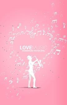 Векторный силуэт саксофониста, стоящего с музыкальной нотой, летящей в форме сердца. предпосылка концепции для темы песни и концерта о любви.