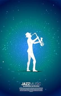 Векторный силуэт саксофониста с точечным фоном всплеска. предпосылка концепции для концерта и отдыха джазовой музыки.