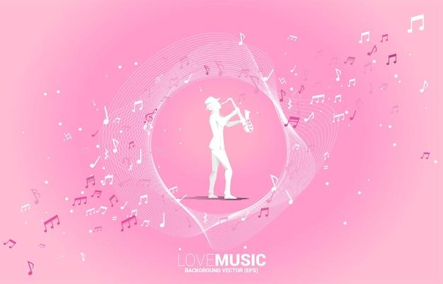 Векторный силуэт саксофониста с потоком танцев примечания мелодии музыки. концепция фона для концерта и отдыха классической музыки.
