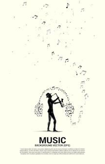 Векторный силуэт саксофониста с потоком танцев примечания мелодии музыки с наушниками. предпосылка концепции для концерта джазовой музыки и отдыха.