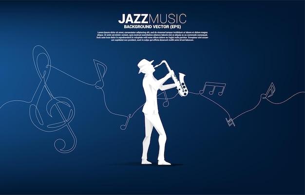 Векторный силуэт саксофониста с нотной мелодией из одной строки. концепция фон для джазовой песни и концертной темы.