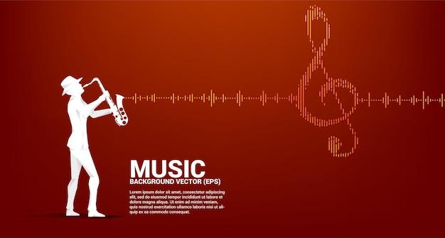 Векторный силуэт саксофониста с значком ключевой ноты sol звуковая волна музыкальный эквалайзер фон. фон для событий концерта и музыкального фестиваля