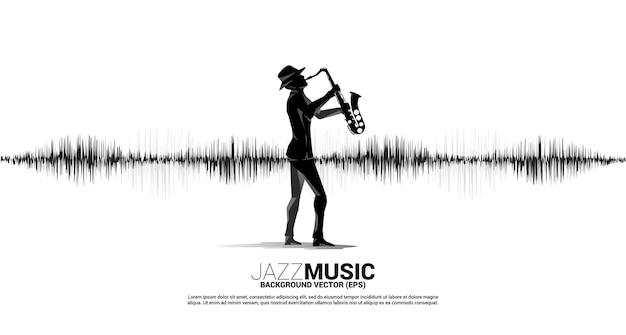 Векторный силуэт саксофониста с иконой ноты. звуковая волна. фон эквалайзера. концепция фон для джазовой песни и концертной темы.