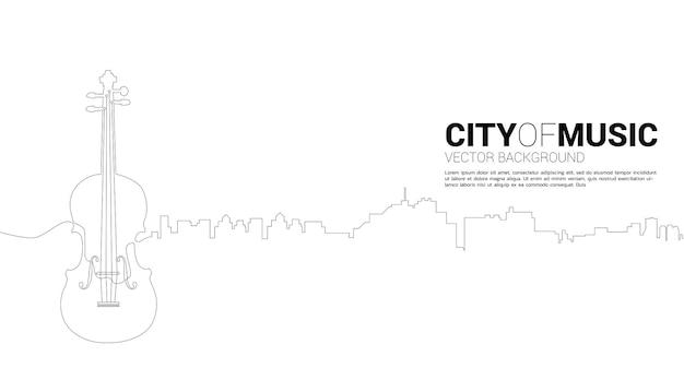 한 줄에서 도시와 바이올린의 벡터 실루엣. 클래식 음악의 도시에 대한 개념입니다.