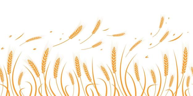 小麦のベクトルシルエット。シルエット。白い背景の上のフィールドで小麦。
