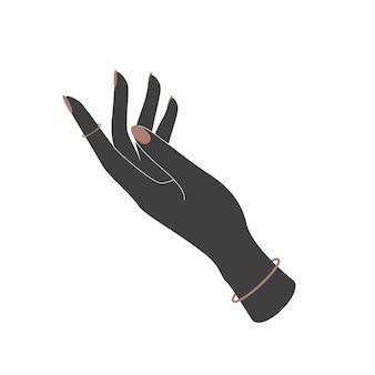 평면 스타일에 여자 손 아이콘의 벡터 실루엣입니다. 기호 지원, 관리 및 도움