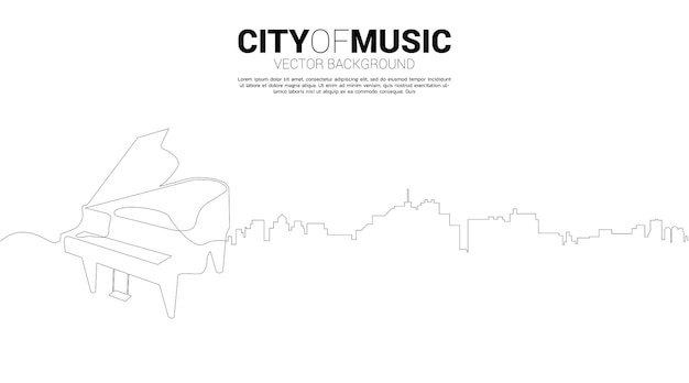 Vector silhouette of piano with city from one line. concept for city of classic music.