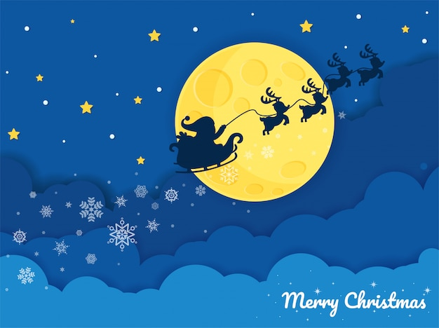 Vector silhouette of santa claus riding a sleigh in the night sky with big moons and snowflakes.