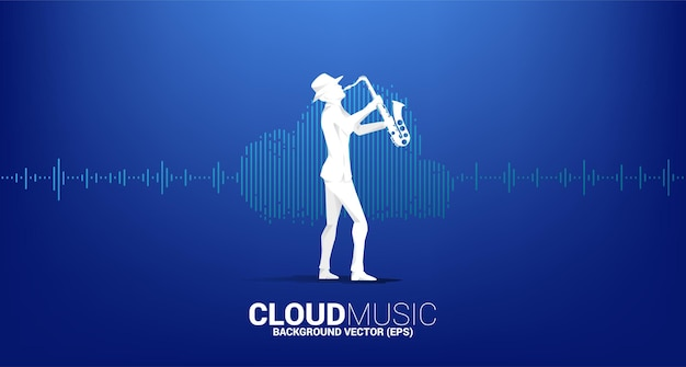 Vector silhouette of saxophonist cloud music and sound technology concept .equalizer wave as cloud shape