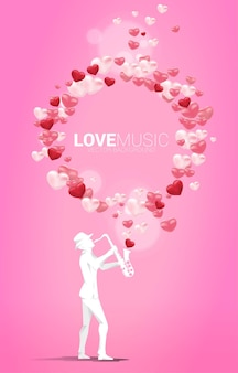Vector silhouette of saxophonist standing with heart balloon flying . concept background for love song and concert theme.