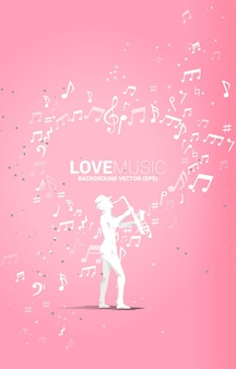 Vector silhouette of saxophonist standing with music note flying as heart shape . concept background for love song and concert theme.